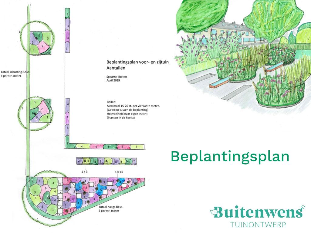 Buitenwens Tuinontwerp Heemskerk Beplanting Beplantingsplan 3D Impressie