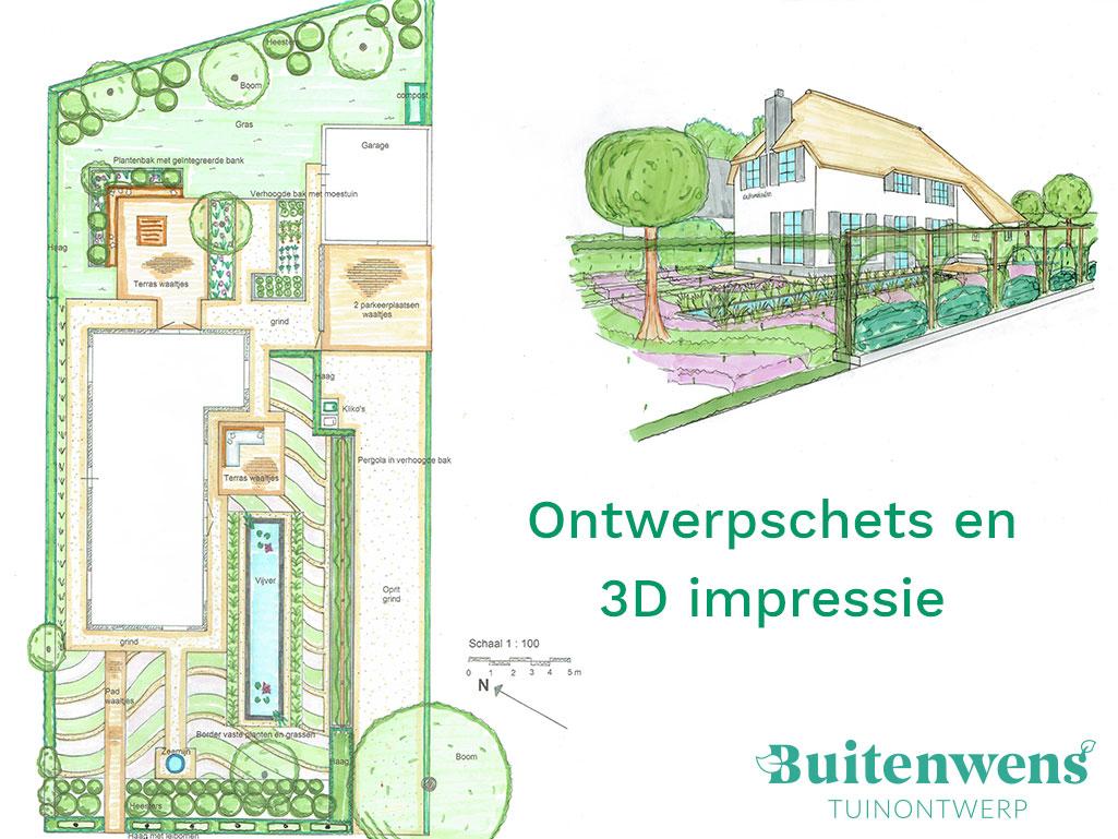 Buitenwens Tuinontwerp Heemskerk Tuinontwerp Ontwerpschets 3D Impressie